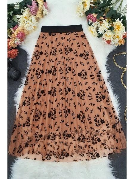 Tulle Printed Elastic Skirt -Powder