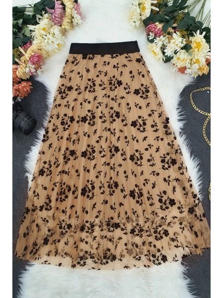 Tulle Printed Elastic Skirt - Beige