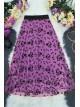 Tulle Printed Elastic Skirt - Purple