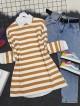 Crew Neck Thick Striped Slit Sweat -Mink color