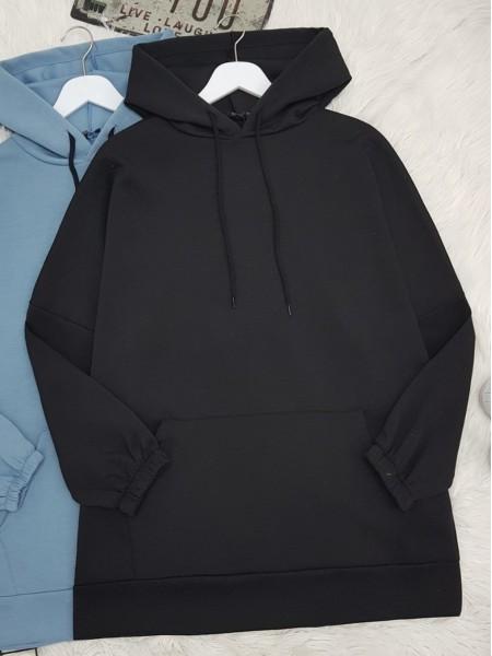Hooded Kangaroo Pocket Sleeve Elastic Sweat -Black