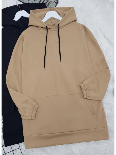 Hooded Kangaroo Pocket Sleeve Elastic Sweat -Mink color