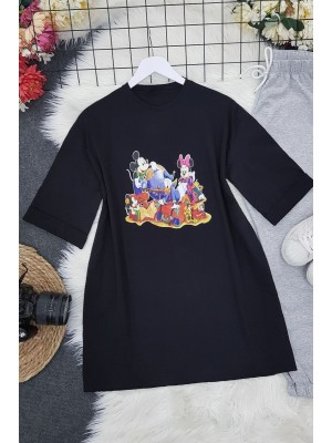 Character Printed T-Shirt -Black