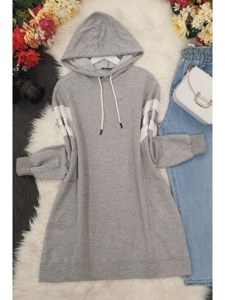 hooded reflective tunic -Grey