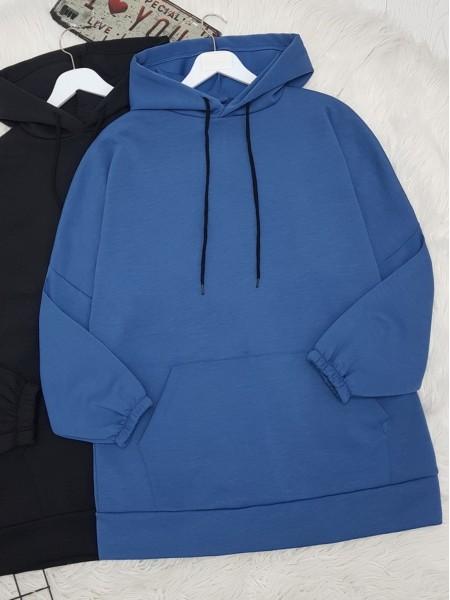 Hooded Kangaroo Pocket Sleeve Elastic Sweat -İndigo
