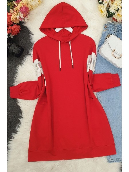 hooded reflective tunic -Red