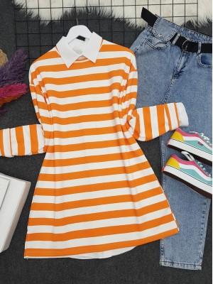 Crew Neck Thick Striped Slit Sweat -Orange