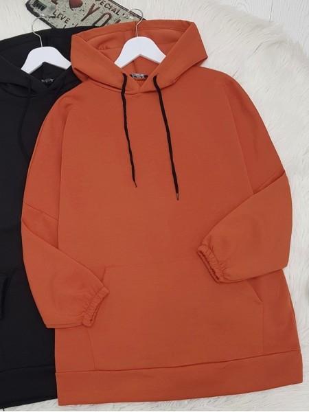 Hooded Kangaroo Pocket Sleeve Elastic Sweat -Orange