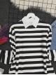 Crew Neck Thick Striped Slit Sweat -Black