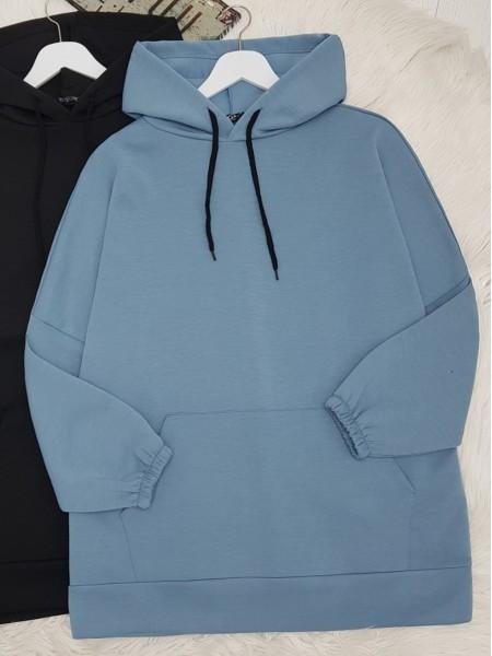 Hooded Kangaroo Pocket Sleeve Elastic Sweat -Blue