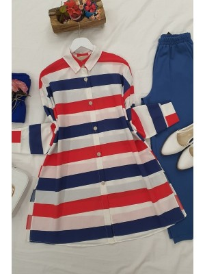 striped buttons shirt   -Red