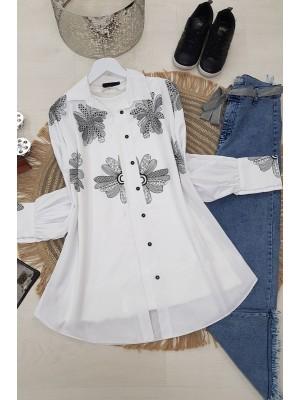 Floral Print Shirt -White