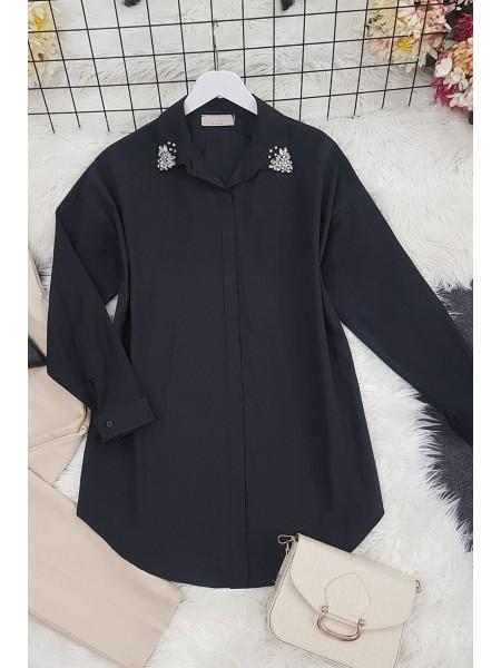 Stone Collar Tunic -Black