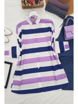 striped buttons shirt  -Lilac