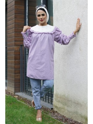 Baby Collar Scalloped Tunic -Lilac