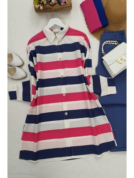 striped buttons shirt -İndigo
