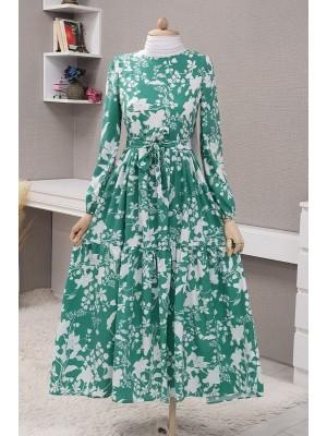 Leaf Printed Belted Dress  -Green