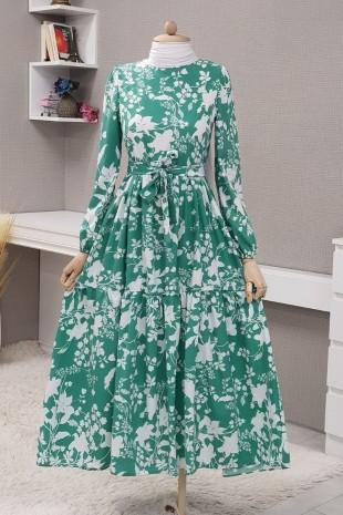 Yaprak Baskılı Kemerli Elbise  -Yeşil