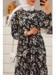 Clover Pattern Long Dress -Black