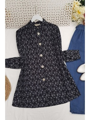 Embroidery Detailed Tunic -Black