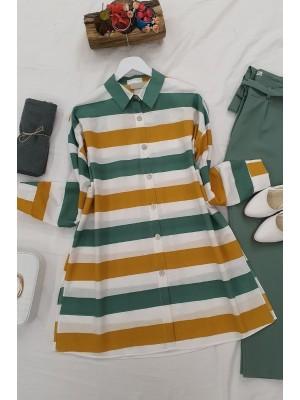 striped buttons shirt -Mint Color