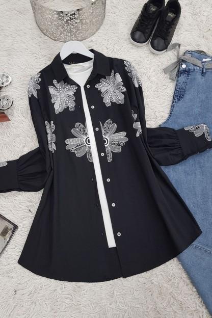 Çiçek Baskı Gömlek -Siyah