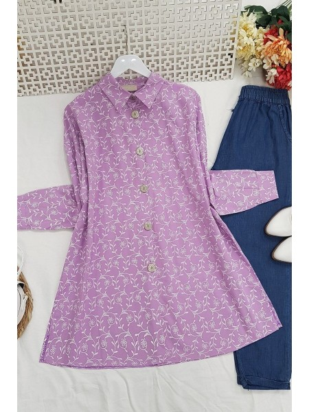 Embroidery Detailed Tunic -Lilac