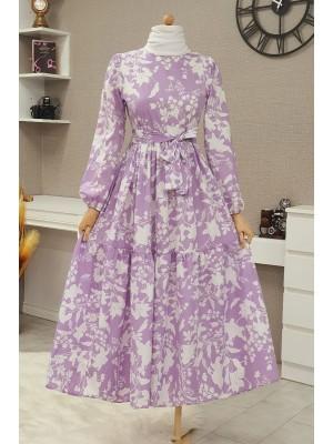 Leaf Printed Belted Dress -Lilac