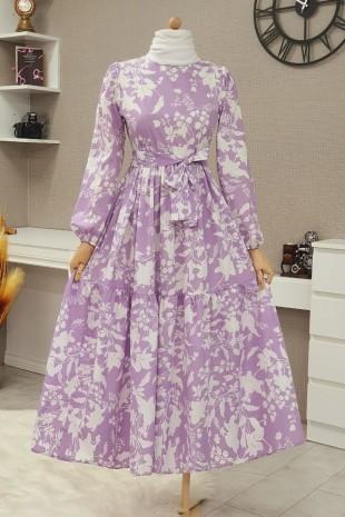 Yaprak Baskılı Kemerli Elbise -Lila