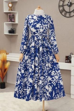 Yaprak Baskılı Kemerli Elbise -İndigo