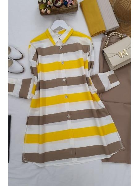 striped buttons shirt -Yellow