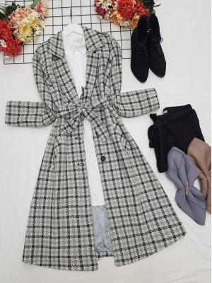 Inner Lined Epaulet Belt Buttoned Coat  -Grey