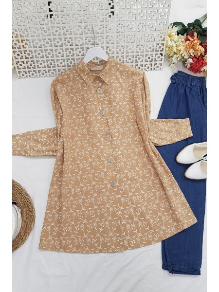 Embroidery Detailed Tunic -Mink color