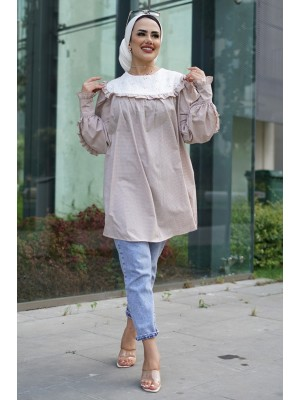 Baby Collar Scalloped Tunic -Mink color