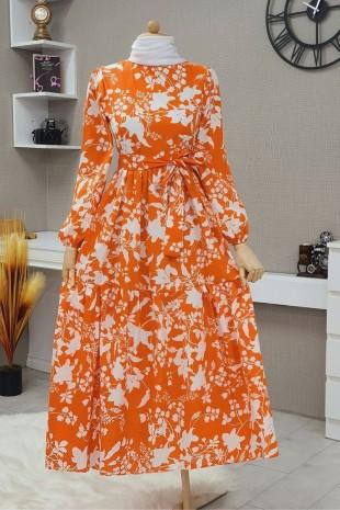 Yaprak Baskılı Kemerli Elbise -Turuncu