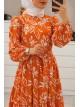 Clover Pattern Long Dress -Orange