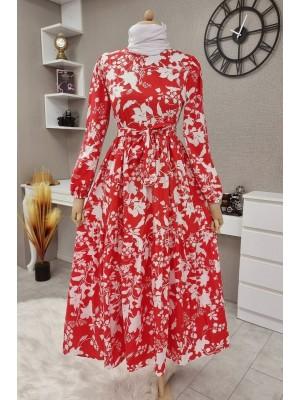 Leaf Printed Belted Dress -Red