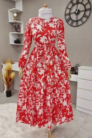 Yaprak Baskılı Kemerli Elbise -Kırmızı