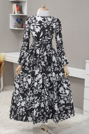 Yaprak Baskılı Kemerli Elbise  -Siyah