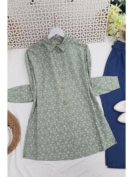 Embroidery Detailed Tunic -Green