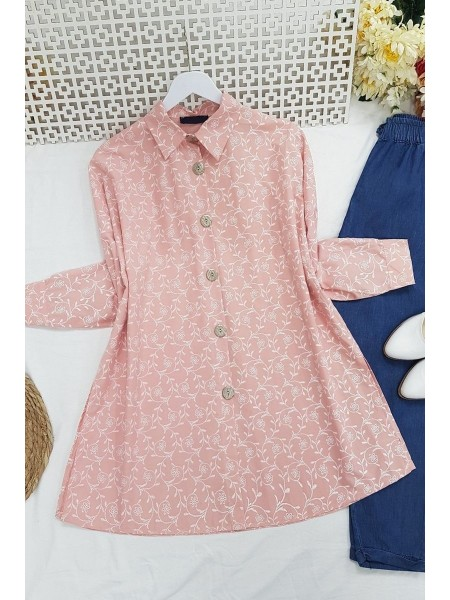 Embroidery Detailed Tunic -Powder