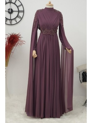 Stone Detailed Evening Dress  -Damson