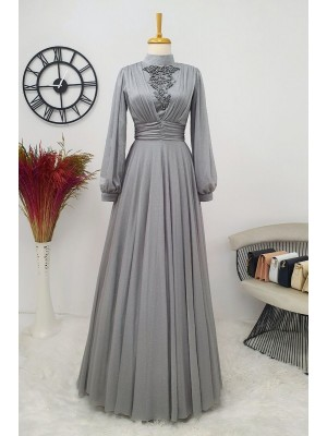 Silvery Tulle Evening Dress  -Grey
