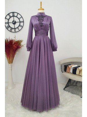 Silvery Tulle Evening Dress  -Cherry Color