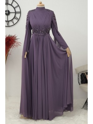 Stone Detailed Evening Dress  - Purple