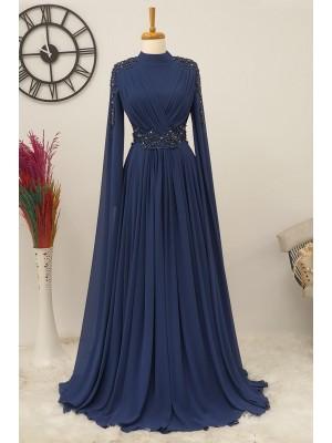 Stone Detailed Evening Dress -Navy blue