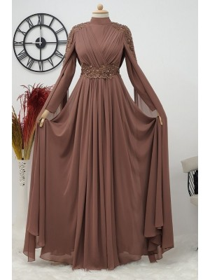 Stone Detailed Evening Dress  -Dried rose