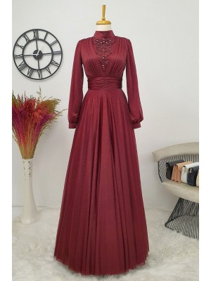 Silvery Tulle Evening Dress  -Maroon