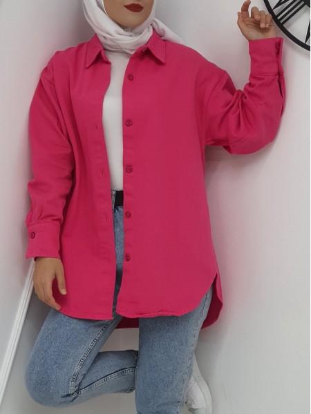 Button Down Front Short Gabardine Shirt Jacket -Fuchsia