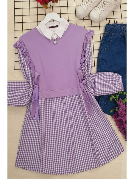 Combed Detailed Plaid Tunic -Lilac